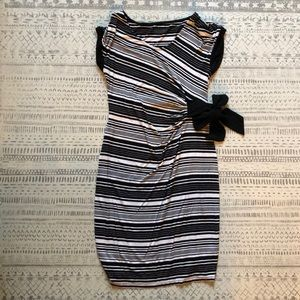 Striped fitted maternity dress